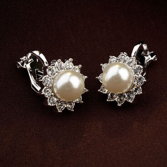 White Pearl and White Austrian Crystal 18k White Gold Clip-On Earrings