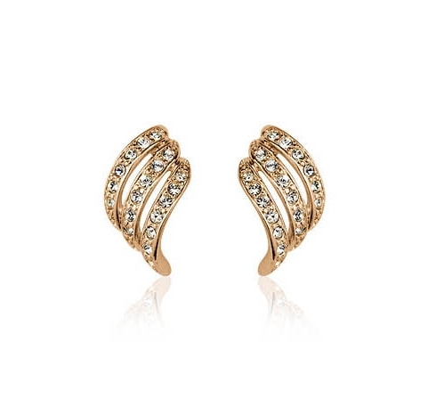 Austrian Crystals 18k Rose Gold Wing Clip-On Earrings