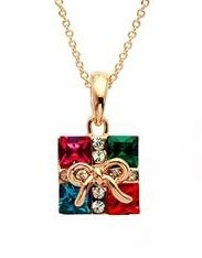 Gift box Austrian Crystals 18k Rose Gold Pendant Necklace