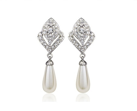 Pearl and Austrian Crystals 18k White Gold Clip-On Earrings