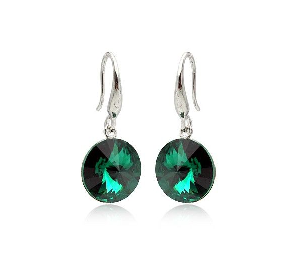 Black Green Austrian Crystals set in 18k White Gold-Plated Earrings
