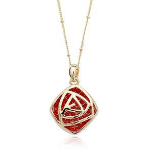 Red Austrian Crystals set in 18k Gold Plated Pendant Necklace