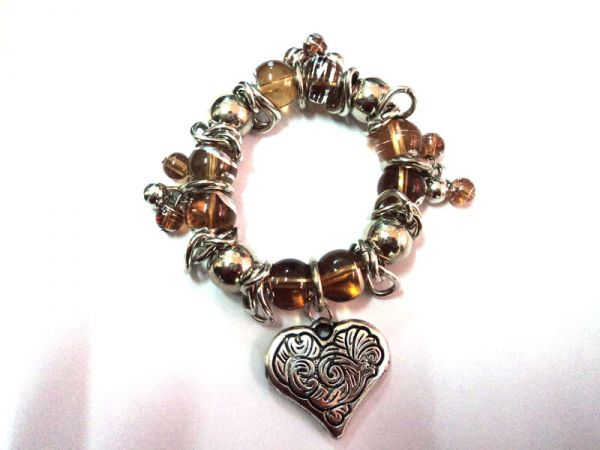 Clear Brown Beads with Silver Heart
