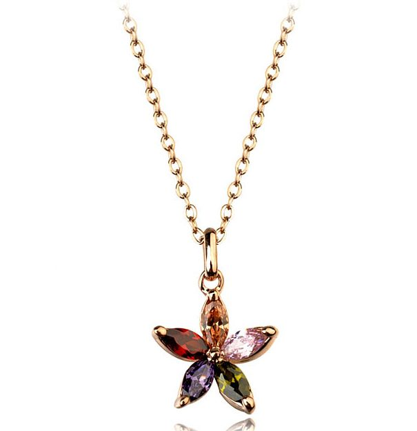 Colourful Austrian Crystal Snowflakes set in 18k Rose Gold-Plated Pendant Necklace