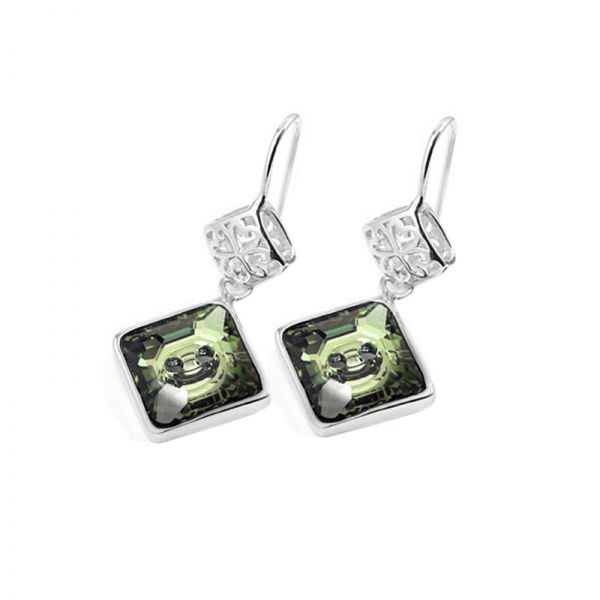 Green Square Austrian Crystals in 925 Sterling Silver Earrings