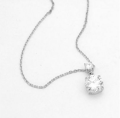 White Austrian Crystals 18k White Gold Pendant and Necklace