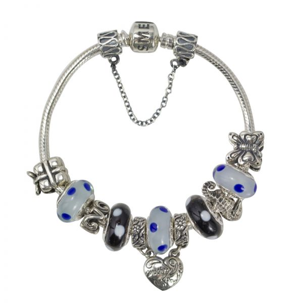 SME 925 Sterling Silver European Charm Bracelet with Black and White Murano Glass Beads