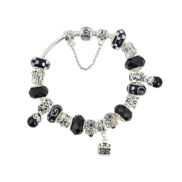 SME European Silver and Black Charm Bead Bracelet with Murano Beads