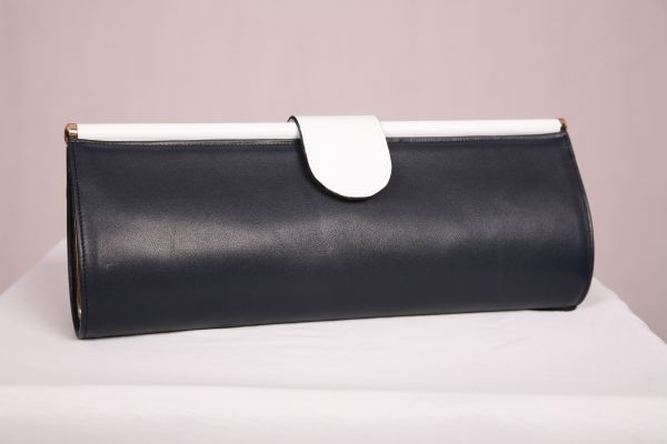 Navy and White Premium Leather Clutch