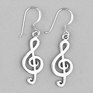 925 Sterling Silver Large Music Treble Clef Drop Earrings