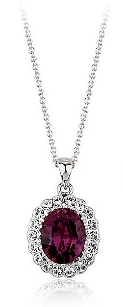 Red and White Austrian Crystals 18k White Gold Pendant Necklace