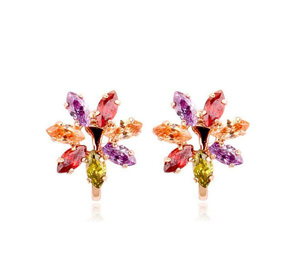 Colourful Austrian Crystal Snowflakes set in 18k Rose Gold-Plated Clip On Earrings