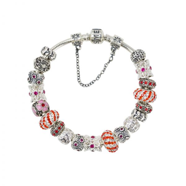 SME European 925 Sterling Silver Charm Bead Bracelet with high quality red Austrian Crystal Beads
