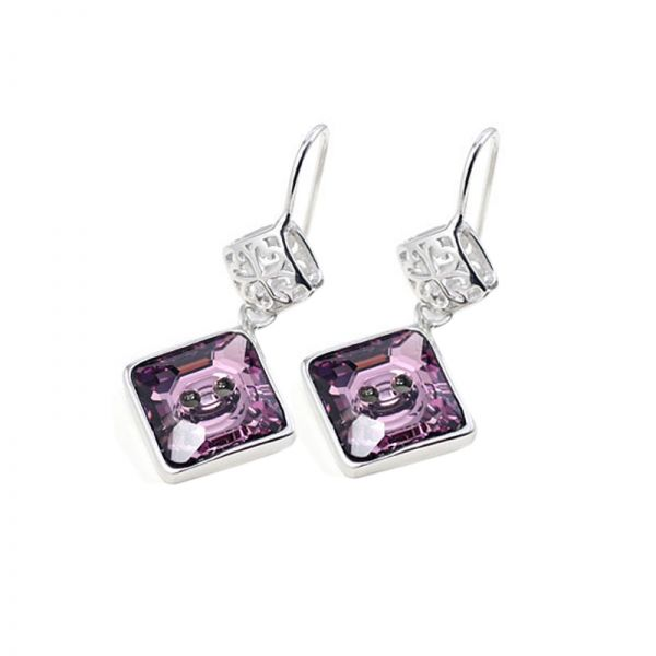 Purple Square Austrian Crystals in 925 Sterling Silver Earrings