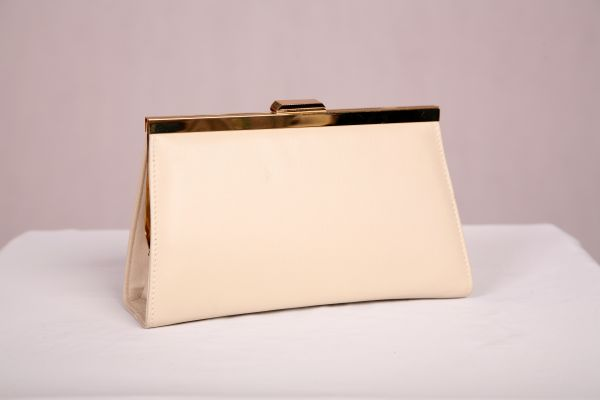 Cream Premium Leather Evening Bag with Gold Chain