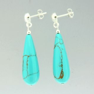 925 Sterling Silver Turquoise Drop Earrings