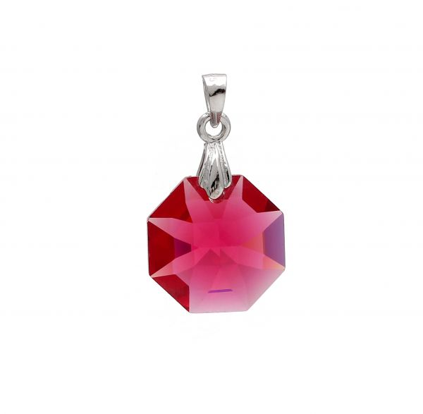 Red Octagonal Austrian Crystal set in 925 Sterling Silver Pendant