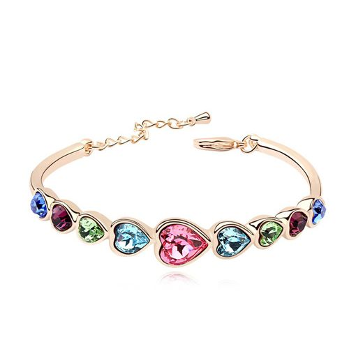 Austrian Crystal Hearts 18k Yellow Gold Bracelet