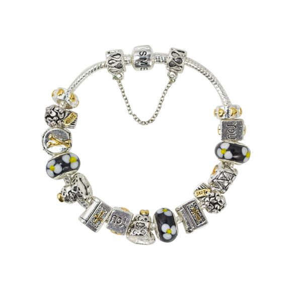 SME Silver love bracelet with high quality murano glass beads