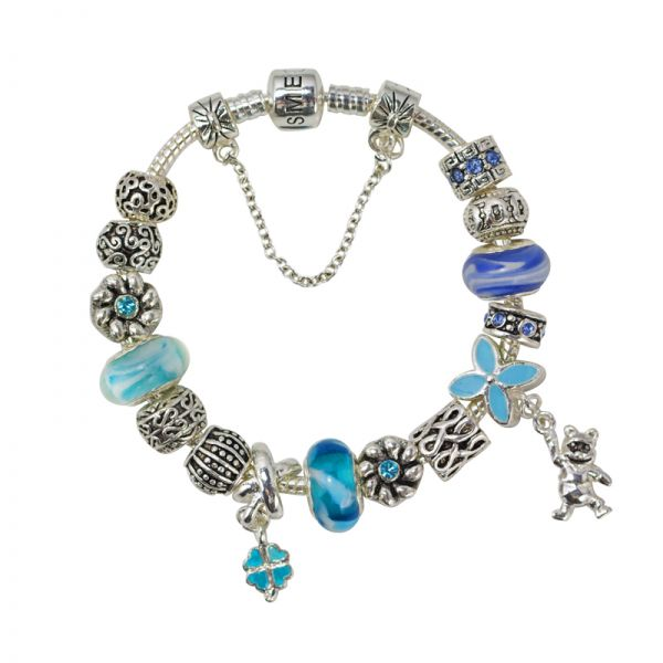 SME Silver Plated European Charm Bracelet wtih Blue Murano Glass Beads