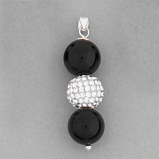 925 Sterling Silver Black Onyx and Swarovski Crystal Bead Pendant