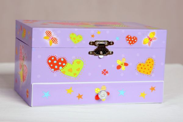 Purple Butterfly Musical Jewelry Box with drawers