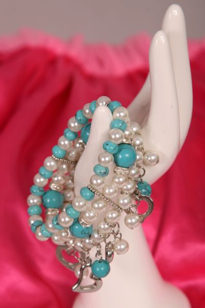Turquoise and Pearl Bead Bracelet