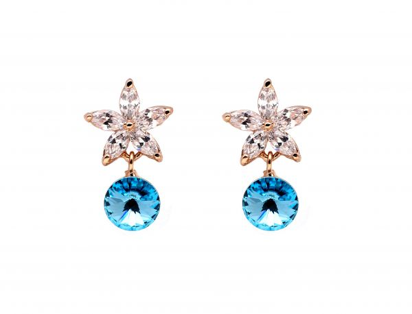 Ocean Blue and Clear Austrian Crystals set in 18k gold plated star stud earrings