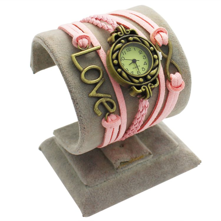 Pink Leather Antique Love Watch