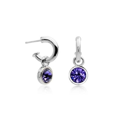 Purple Austrian Crystal 18k White Gold Drop Earrings