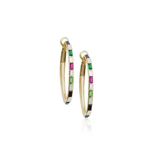 Colourful Austrian Crystals set in 18k Rose Gold-Plated Hoops