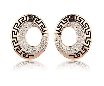 White Austrian Crystal 18k Rose Gold Oval Spiral Retro Style Earrings