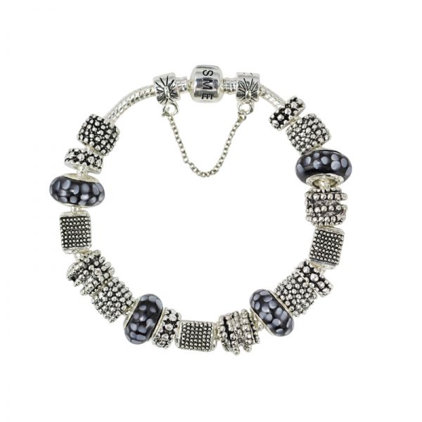 SME Silver European Charm Bracelet with high quality Murano Glass Beads