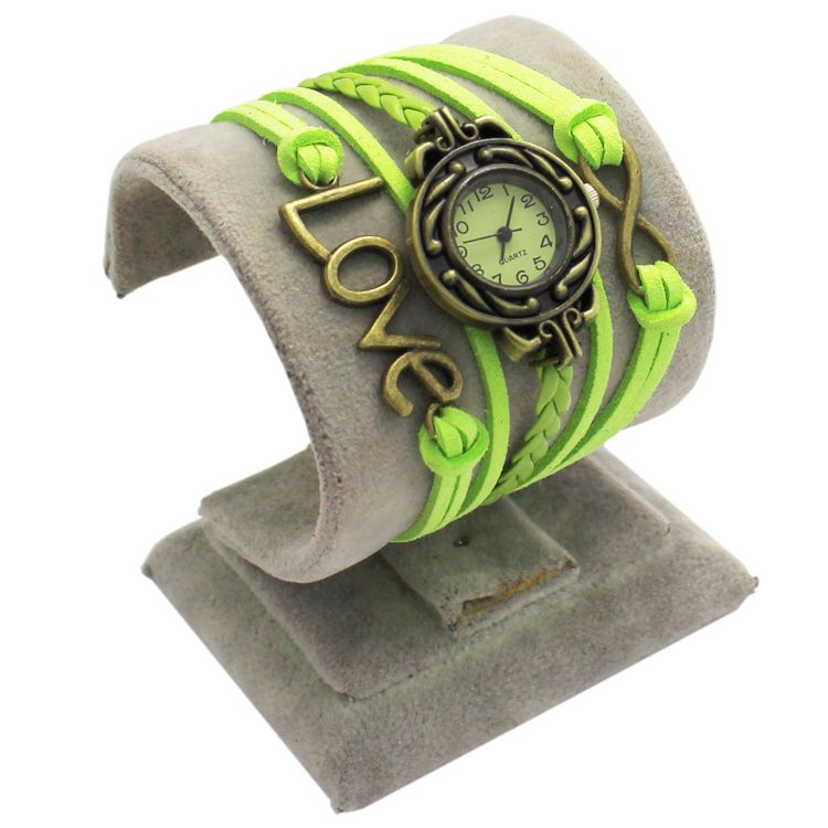 Lime Green Leather Antique Love Watch