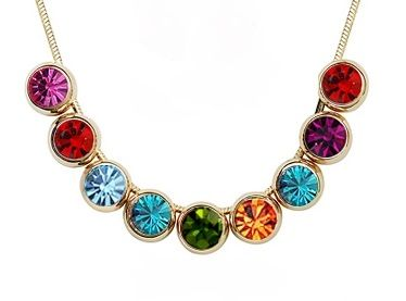 Coloured Austrian Circle Crystals 18k rose gold Snake Necklace