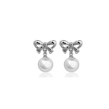Pearl and 18k White Gold-Plated Bow Pierced Earrings