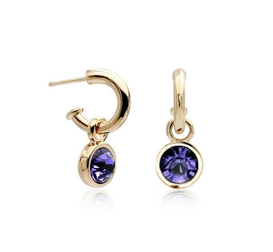 Purple Austrian Crystal set in 18k Rose Gold-Plated Circle Drop Earrings