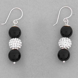 925 Sterling Silver Black Onyx and Swarovski Crystal Drop Earrings