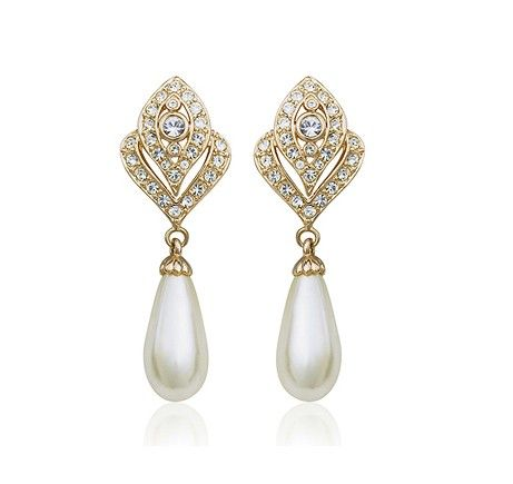 Pearl and Austrian Crystals set in 18k Rose Gold-Plated Clip On Earrings