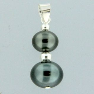 925 Sterling Silver Black Pearl Bead Pendant