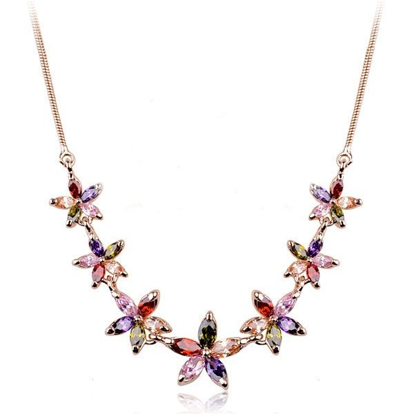 Colourful Austrian Crystal Snowflakes set on 18k Rose Gold-Plated Necklace