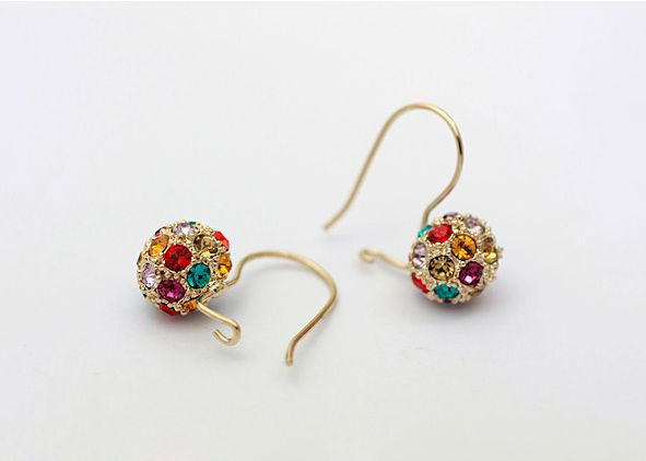 Coloured Austrian Crystals in Rose Gold Ball Earrings