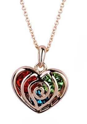 Austrian Crystals in 18k Rose Gold Heart Pendant Necklace