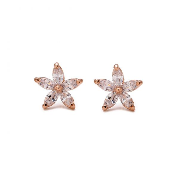 White Austrian Crystal Snowflakes set in 18k gold plated stud earrings