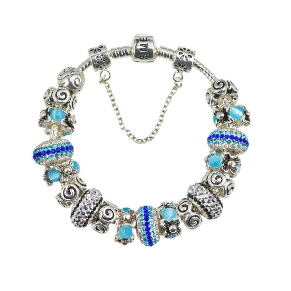 SME European Silver and Blue Charm Bead Bracelet with high quality Austrian Crystal Beads