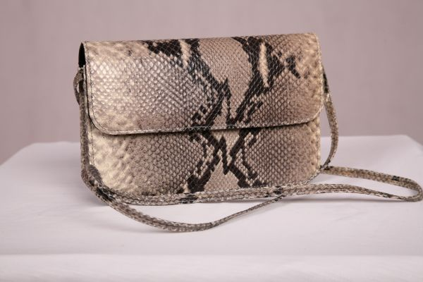 Premium Leather Italian Grey Water Python Print Shoulder Bag