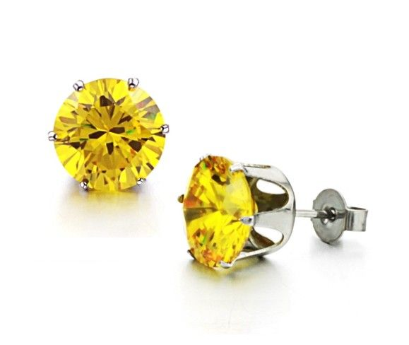 Yellow (10mm) Cubic Zirconia Crystal in Stainless Steel Stud Earrings