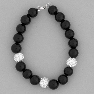 925 Sterling Silver Black Onyx and Swarovski Crystal Bead Bracelet