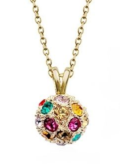Coloured Austrian Crystals in Rose Gold Ball Pendant Necklace