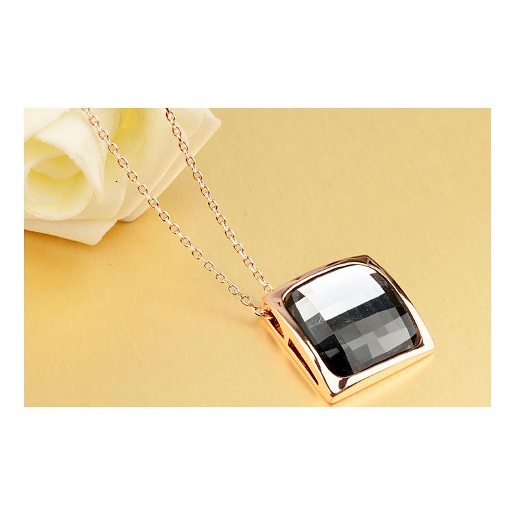 Black Austrian Crystal 18k Rose Gold Pendant Necklace